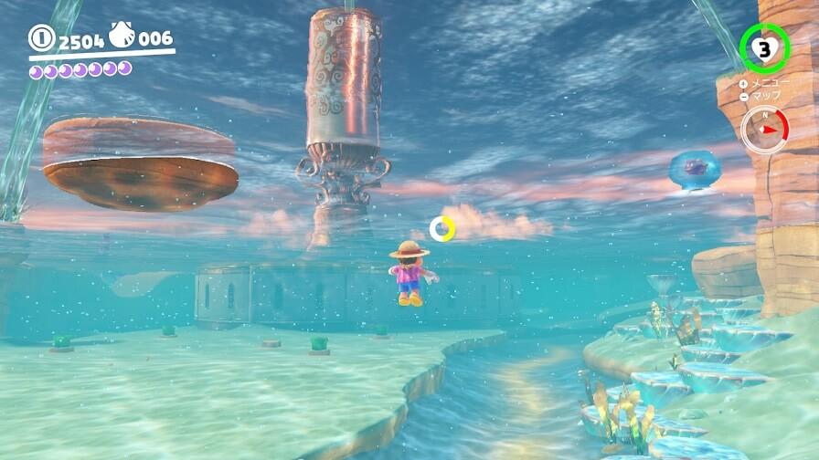 マリオオデッセイの水中
