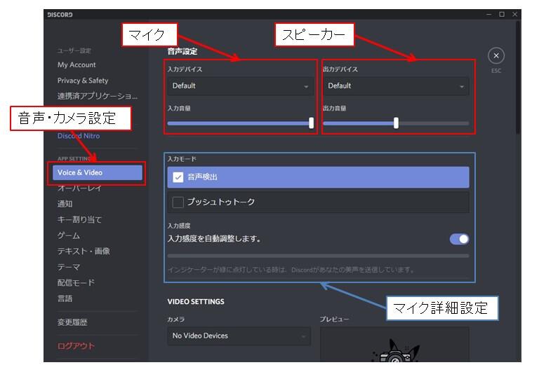 Discordの音声設定画面の詳細